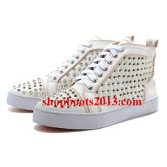 Buy Christian Louboutin Mans Flat Leather Sneakers White/Pink Lastest SamRn from Reliable Christian Louboutin Mans Flat Leather Sneakers White/Pink Lastest SamRn suppliers. Studded Sneakers, Ankle Sneakers, Pink Sneakers, Slip On Sneakers, Leather Sneakers, Sneakers Fashion, Ankle Boots, Fashion Boots, Fashion Outfits