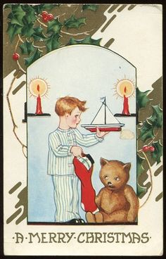 Antique Vintage Christmas Postcard Boy with Sailboat & Teddy Bear Whitney Made | by oldsailro