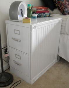 Great idea to remake an old metal filing cabinet into piece of furniture