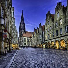 Prinzipalmarkt and St. Lambert's Church, Münster Germany - #Muenster by bern.harrison