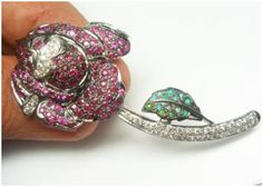 """""""Rosa""""...only $1,500 or P66,000!! Designer Rose 1.53ctw Diamond,Ruby& Emerald Brooch! Imported, world-class quality, not pre-owned, not pawned, not stolen. We deliver worldwide <3"""