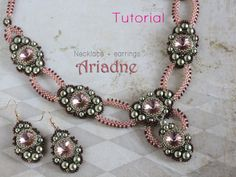 Tutorial for beadwoven necklace and earrings 'Ariadne'