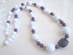 White & Purple Long Necklace 26 long by MissBusyBeeJewelry on Etsy, $13.00
