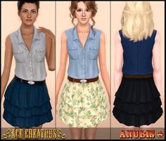 the sims 3 custom content - sunnyanubis: Rose Bloom ~ Country Summer Dress . Country Summer Dresses, Country Outfits, Sims 3 Mods, Sims Cc, Country Girl Look, Sims 3 Cc Finds, Blooming Rose, Clothes For Women, Female