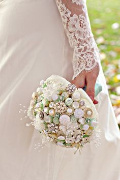 Downton Button Bouquet in ivory cream and mint green with pearl and fabric flower highlights