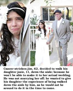 "Beautiful Story. Some people find this ""stupid"" or ""weird"", but if you think about it - when she really DOES get married, this day will be in her memory and in her heart. She knows that he is there, even if he physically cannot be. Beautiful. Absolutely beautiful."