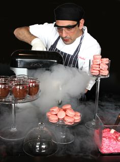 Liquid Nitrogen at The Hurlingham Club in June. Our chef's made chocolate and raspberry ice cream.