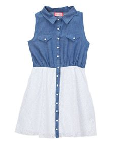 Blue Chambray & White Lace A-Line Dress - Toddler & Girls