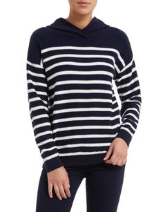 This cosy cotton and wool blend hoodie has a preppy Breton stripe, making it a cool casual look with denim. Wear it throughout the cooler months alone, or layered under a navy coat. Navy Coat, Womens Clearance, Cosy, Casual Looks, Wool Blend, Preppy, How To Make, How To Wear, Hoodies