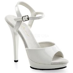 Fabulicious Shoes Pleaser Fabulicious Shoes Lip-109 White Sandals White patent sandals with single toe strap with wider sides and thin middle, ankle strap with side metallic buckle closure and supporting side straps, 0.75 inch (2 cm) front white platform and dazzlin http://www.MightGet.com/january-2017-12/fabulicious-shoes-pleaser-fabulicious-shoes-lip-109-white-sandals.asp