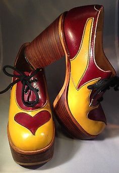"Vintage Platform Wooden Chunky 5"" Heels Leather Heart Shoes 70's Sz 6 MOD Disco"