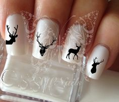 Deer Nail Art Nail Water Decals Transfers Wraps by SWNails on Etsy
