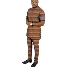 African clothing men's print set short sleeve shirt with trouser Ankara fashion pant sets customize wedding male formal outfits - AliExpress African Wear Styles For Men, African Dresses Men, African Clothing For Men, Nigerian Men Fashion, African Men Fashion, Ankara Fashion, Mens Fashion, Styles Ankara, African Print Shirt