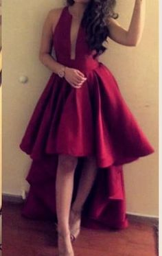 Straps V Neck High low Prom Dress Red Formal Party Gown #macloth #dress #gown #promdress #promgown #prom2017 #formaldress #formalgown #wedding #formaldress #formalgown