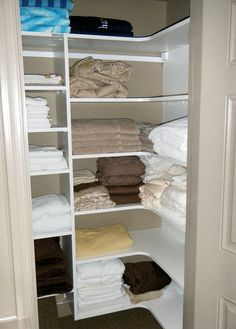 California Closets provides a range of unique and beautiful custom closets, closet organizers, and closet storage systems for any room in the home. Front Closet, Shelves, Closet Storage Systems, Playroom Closet, Bathroom Makeover, Closet, Corner Closet Organizer, Corner Shelves, Shelving