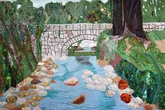 Aqua Bella Park Quilt Art Wall Hanging by cindyrquilts on Etsy