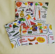 Reusable Snack and Sandwich Bag Set - 3 pack - food groups - eco friendly - school snack - snack pouch - kamsnaps -preschool - daycare - pinned by pin4etsy.com