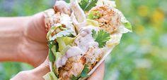 Receta tacos de langostinos a la parrilla y ensalada de maíz