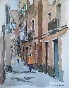 Barri Gotic   Gothic quarter, Barcelona.Joaquim Francés (acuarela/watercolor)