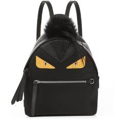 Fendi Bag Bugs mini nylon and fur backpack (58655 TWD) via Polyvore featuring bags, backpacks, black multi, fendi tote, mini backpack, fendi backpack, day pack backpack and fur backpack