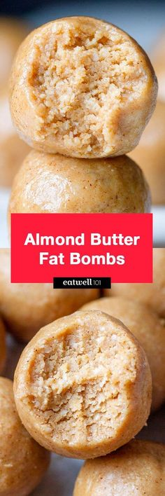 3-Ingredient Almond Butter Fat Bombs - So yummy! These little low carb, keto snacks help reduce sugar and carb cravings.