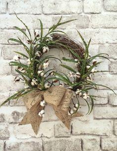 Cotton Boll Wreath Summer Wreath for Door by AdorabellaWreaths,
