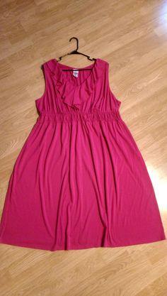 JMS Womans Plus Size Dress Size 5X 30W - 32W Fuscia Stretch Sundress CUTE! #JMS #Sundress #BusinessorCasual