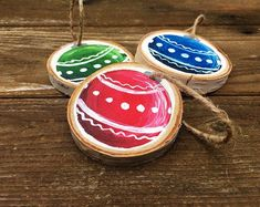 Items similar to Hand-painted christmas tree wood slice ornament, night sky ornament, hand-painted wood slice, woodsy tree decor on Etsy Christmas Tree Painting, Painted Christmas Ornaments, Hand Painted Ornaments, Wood Ornaments, Christmas Wood, How To Make Ornaments, Christmas Bulbs, Snowflake Ornaments, Ornaments Ideas