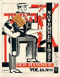 Machine Age: A cover of the Yiddish communist magazine Der Hammer, US, November, 1927.