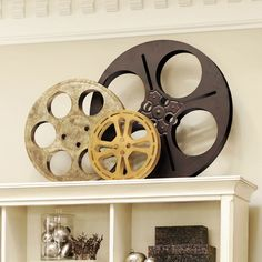 For the movie room if I had one. Film Reel Plaques - Set of 3
