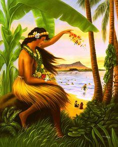 Vintage Hawaiian Art | hula princess hula princess