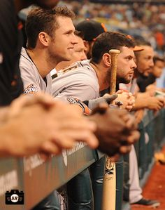 august, sf giants, photo, tropicana field, on the rail My Giants, Giants Baseball, Baseball Players, 2014 World Series, Cleveland Indians Baseball, Hockey, G Man, Buster Posey, Great Team