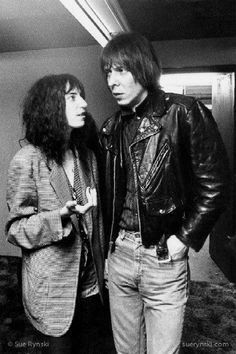 "Patti Smith and Fred Sonic Smith, backstage, 8 February 1978  The ""Wedding Photo,"" Patti's favorite"