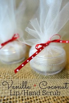 An easy vanilla and coconut diy lip scrub recipe. Perfect for Valentine's Day gifts!