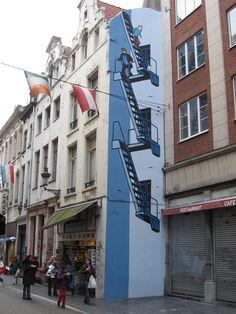 Brussels. Cartoon Murals - Tintin