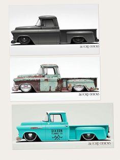 Tri-Five Chevy Truck Renderings – JM Ford Designs Ford Trucks, 55 Chevy Truck, Jeep Pickup Truck, Classic Pickup Trucks, Ford Classic Cars, Chevrolet Trucks, Chevrolet Apache, Gmc Suv, Bagged Trucks