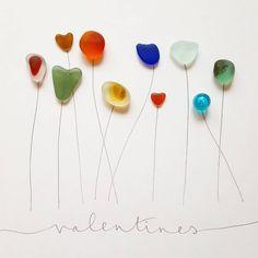 Happy Valentines Day | #valentinesday #valentine #love #sayitwithflowers #sayitwithseaglass #seaglass #seaglassart #beachcomber #beachglass #cornwall #hearts #flowers ⚘