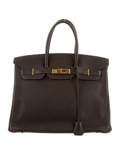 Cafe Clemence leather Hermès Birkin 35 with gold-tone hardware, dual rolled  top handles