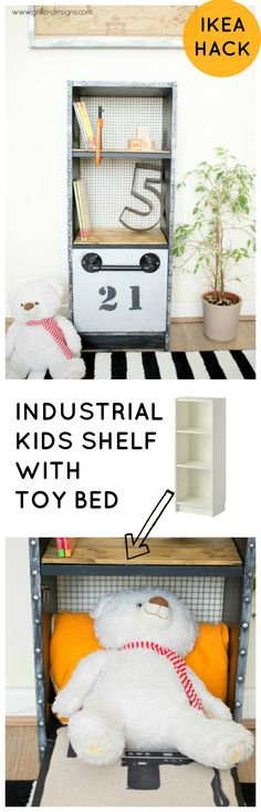 My son lacked the space in his room for a toy bed, so I decided make him an industrial pull out toy bed from an IKEA billy shelf. Full tutorial here!