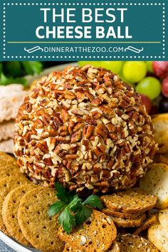 This cheese ball recipe is made with cream cheese, white cheddar cheese and spices, all blended together and rolled in chopped pecans. Appetizers For Party, Appetizer Recipes, Yummy Appetizers, Dinner Recipes, Cheese Ball Recipes, Pecan Cheese Ball Recipe, Potato Recipes, Vegetable Recipes, Vegetarian Recipes