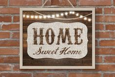 Rustic Home Print, Home Wood Sign Home Sweet Home Print, Home Art Decor, Sting Light Burlap Rustic Home Printable, Wedding Housewarming Gift - pinned by pin4etsy.com