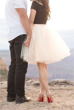 Blush tulle skirt with nude Louboutins   Grand Canyon engagement   Outfit inspiration   Red soles   Photo by Amy & Jordan