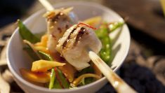 Grilled Monkfish and Lemongrass Skewers with Papaya and Mangetout Salad
