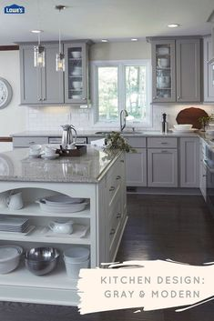 Make your dream kitchen a reality with contemporary updates. Sleek stainless ste… Make your dream kitchen a reality with contemporary updates. Sleek stainless steel appliances and modern gray cabinets create a sophisticated look. Grey Kitchen Cabinets, Kitchen Redo, Home Decor Kitchen, Kitchen Backsplash, New Kitchen, Home Kitchens, Backsplash Ideas, Updated Kitchen, Kitchen Ideas