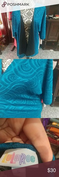 Blue Lularoe Lindsey Super Stretchy material with a soft black lining, Blue circle pattern. worn once. LuLaRoe Jackets & Coats Blazers