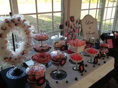 #wedding #candy and #candy warehouse. Buffet included swirl lollipops, psychedelic swirl taffys, salt water taffy, champagne bubbles, string sour licorice, hersey kisses, ribbon candy, marshmallows, pucker powder and swirl sticks, rock candy, candy cane hearts, gum balls, wafer candy and candy hearts.