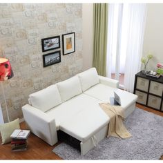 the-Hom Georgetown 2-piece White Bi-cast Leather Sectional Sofa Bed with Storage - Overstock Shopping - Great Deals on Sofas & Loveseats