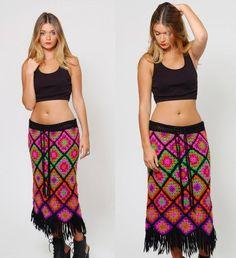 Vintage 70s Crochet GRANNY SQUARE Skirt Knit FRINGE Skirt Fitted Neon Hippie Bohemian Skirt: