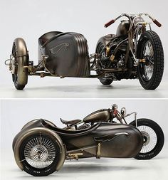 Art Deco-inspired sidecar. Harley Davidson attached to a 1942 Model U (created by Italian workshop Abnormal Cycles)