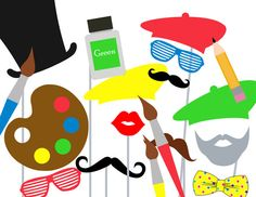 Print Yourself Art Photo Booth Party Props by MagicalPrintable